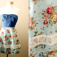 ON SALE 4th of July // Adorable Lace Floral Sundress // Denim Corset Style Bodice // Summer, Luncheon, Date Dress (LARGE)