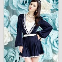 Charming Lacework Deep V Collar Long Sleeves Pantskirt Deep Blue