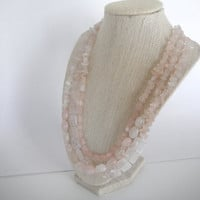 Pink Rose Quartz Triple Strand Necklace Gift fashion under 50