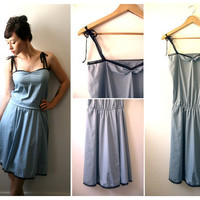 30% OFF- Blue slip cotton dress with adjustable waist and lace trim straps- S