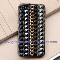 Steampunk Chain, Stud, Black iPhone 4 Case, iphone 4 cover,  New Hard Fitted Case For iphone 4 & iphone 4S, Apple iPhone 4 Case
