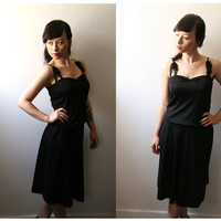 30% OFF- Black slip dress with adjustable waist and lace trim straps- S