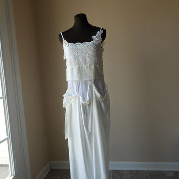 Chemise Wedding Gown 1920s Flapper Style Lace Cotton Vintage Inspired Gatsby 20s 30s Dress Eco Friendly Shabby Chic Tattered
