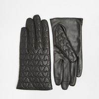 ASOS Leather Gloves With Heart Quilted And Touch Screen Detail