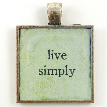 Live Simply Pendant - Inspirational  Aqua Silver Square Pendant Simplify Life Jewelry Charm