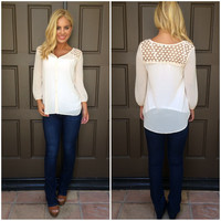 Morning Song Crochet Lace Blouse - CREAM