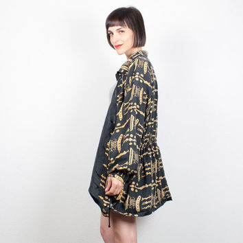 Vintage Anorak Jacket Black Gold Silk Jacket 1980s 80s Windbreaker Jacket bomber Jacket Sporty Athletic Tribal Print Coat L XL Extra Large