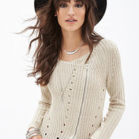 Asymmetric Zipper Cardigan