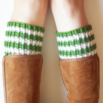 Green and White Striped Chunky Boot Cuffs, vegan, ready to ship.