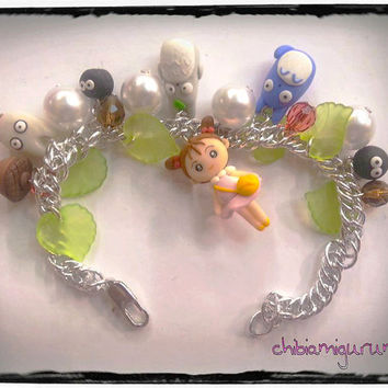 Totoro and friends inspired bracelet charms and beads in polymer clay inspired in Studio Ghibli movie