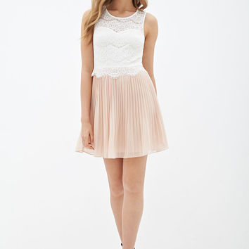 Pleated Lace Colorblock Dress
