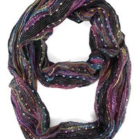 Woven Scarf with Mixed Loop Pattern
