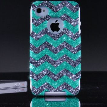 OtterBox Commuter Series Case for iPhone 4 4S - Custom Glitter Case for iPhone 4 4S - Wintermint/Smoke/White Small Chevron