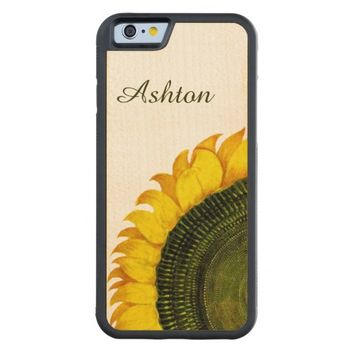 Sunflower Personalized Wood iPhone 6 Case