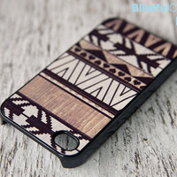 iphone 4 case - geometric art on wood print - white