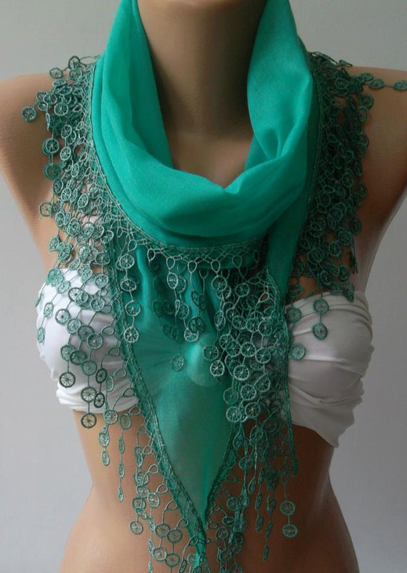 Nile Green - Elegance Shawl // Scarf with Lace Edge