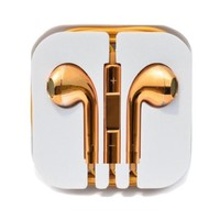 Thinkcase New Gold Earphones Headphones Earbud Volume Remote+Mic For iPhone4 4S 5 5c iPad2 3 ipod others device 02#