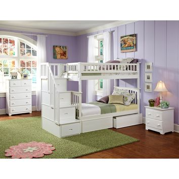 Atlantic Furniture Columbia Staircase Bunk Bed Twin Over Twin w/ 2 Flat Panel Bed Drawers in White Finish