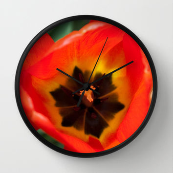 Anatomy of a Tulip, Orange Wall Clock by Legends of Darkness Photography