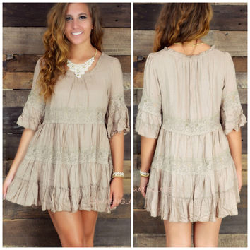 Harvest Hippie Taupe Crinkle Lace Tunic Dress