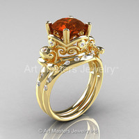 Art Masters Vintage 14K Yellow Gold 3.0 Ct Brown and White Diamond Wedding Ring Set R167S-14KYGDBRD