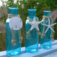 Shabby Chic Coastal Cottage Tiffany Blue Glass Bottles-SEA LIFE TRIO-Mother's Day, Beach Home Decor, Seashore, Starfish and Sand Dollar Home