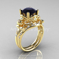 Art Masters Vintage 14K Yellow Gold 3.0 Ct Black and White Diamond Wedding Ring Set R167S-14KYGDBD