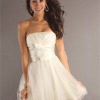 A-line Strapless With Bow Chiffon Tulle White Prom Dress PD1906