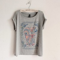 Women's Cotton T-shirt with Walking Elephant Print 0826J