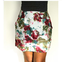 ON SALE Blueberry Splash and Floral Print Mini Skirt  with Two Pockets - Size S/M