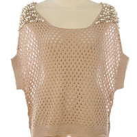 Girls Love Pearls Open Knit Top