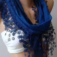 Cobalt  Blue- Elegance Shawl / Scarf with Lace Edge