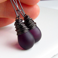 Deep Plum Glass Earrings, Frosted Teardrops Wire Wrapped in Black Gunmetal, Elongated Earwires
