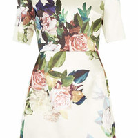 Blur Rose Print Satin A-Line Dress - Cream