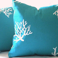 Outdoor/Indoor Beach Decorative Turquoise pillow cover and White 16 x 16