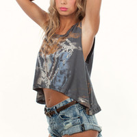 Graphic Diamond Print Tie Die Sleeveless Crop Shirt