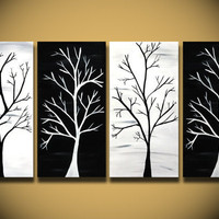 Black and White painting, HUGE tree painting wall Art, 48 Inch trees home decor ORIGINAL Canvas Abstract Handmade Ready to hang, Tree Branch
