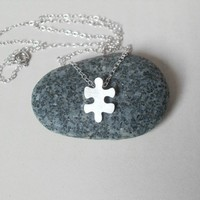 sterling silver jigsaw puzzle necklace, version 3, handmade in England