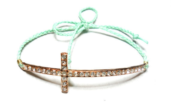 Mint Sideways cross Braided Friendship Bracelets - waxed mint colored floss rose gold plated rhinestones sideway cross