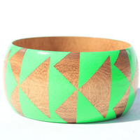 Neon Green Stained Wood Bangle- S - XL