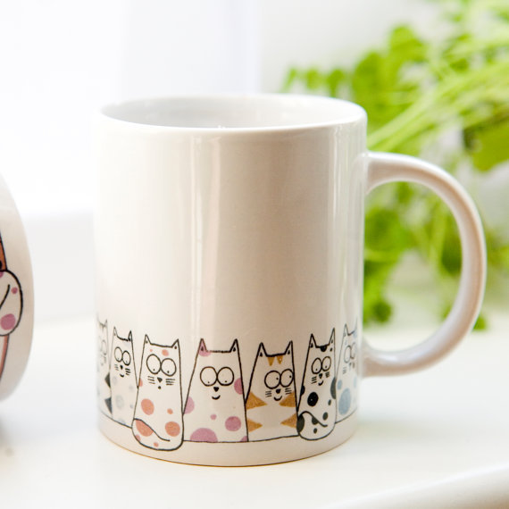 Cat mug - Cuppa Cats coffee mug, tea mug