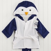 Baby Aspen 'Wash & Waddle' Penguin Hooded Terry Robe (Baby)