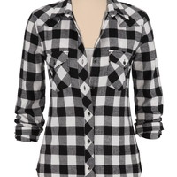 silver jeans co. ® black and white checked flannel shirt