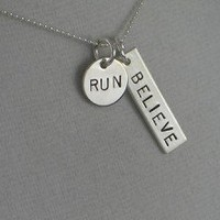 STERLING SILVER BELIEVE IN YOUR RUN, 5K, 10K, 13.1 or 26.2 Sterling Silver pendant on a 16 inch sterling silver ball chain - Additional lengths available
