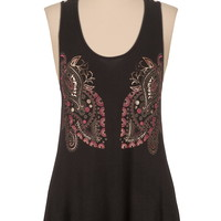 Lattice back paisley print tank with foil