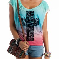 tie-dye-cross-graphic-top BLUEMULTI - GoJane.com