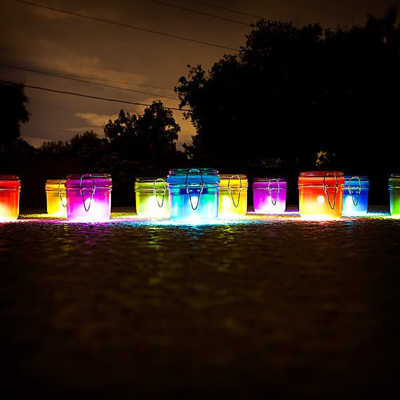 Solar Lights - MULTI-COLOR set of 5 (comes with 2 free snap straps). Solar light for wedding, night light, beach, garden, patio, outdoor