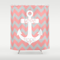 Anchor Chevron Gray Coral Pink Shower Curtain by BeautifulHomes | Society6