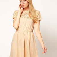 ASOS Skater Dress With Lace Top at asos.com