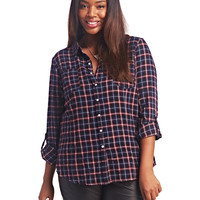 Flannel Roll Up Sleeve Shirt | Wet Seal+